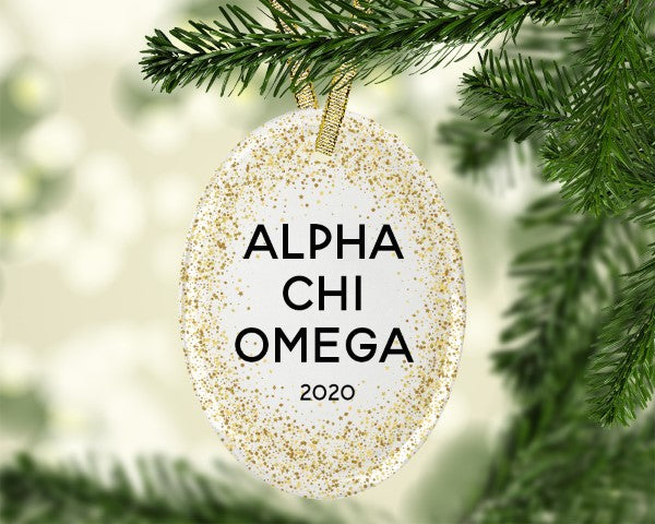 Alpha Chi Omega Gold Speckled Glass Ornament