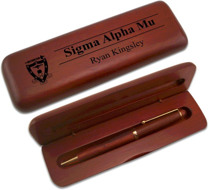 Sigma Alpha Mu Wooden Pen Case & Pen