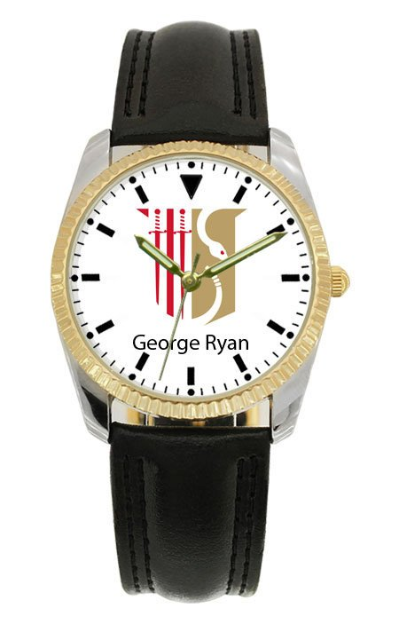 Theta Chi Black Leather Strap Watch