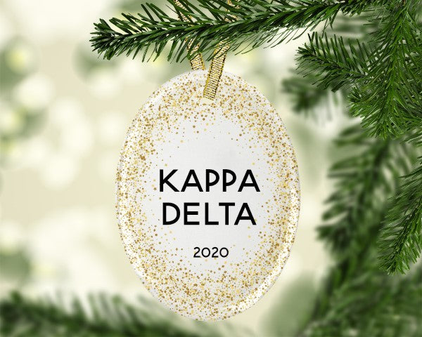 Kappa Delta Gold Speckled Glass Ornament