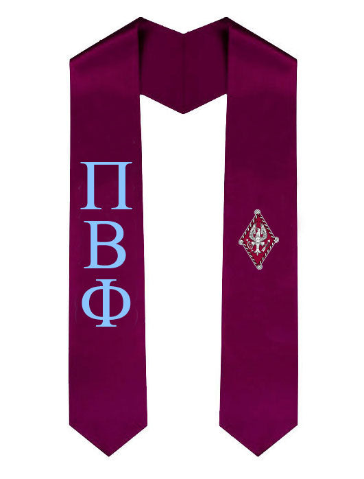 Pi Beta Phi Lettered Graduation Sash Stole with Crest