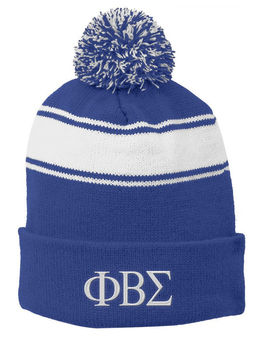 Phi Beta Sigma Embroidered Pom Pom Beanie