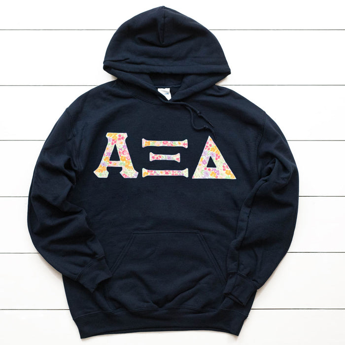 Alpha Xi Delta Unisex Hooded Sweatshirt with Sewn-On Letters