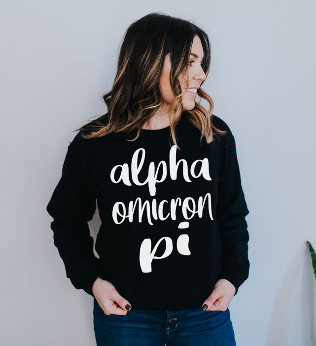 Alpha Omicron Pi Superscript Crewneck Sweatshirt