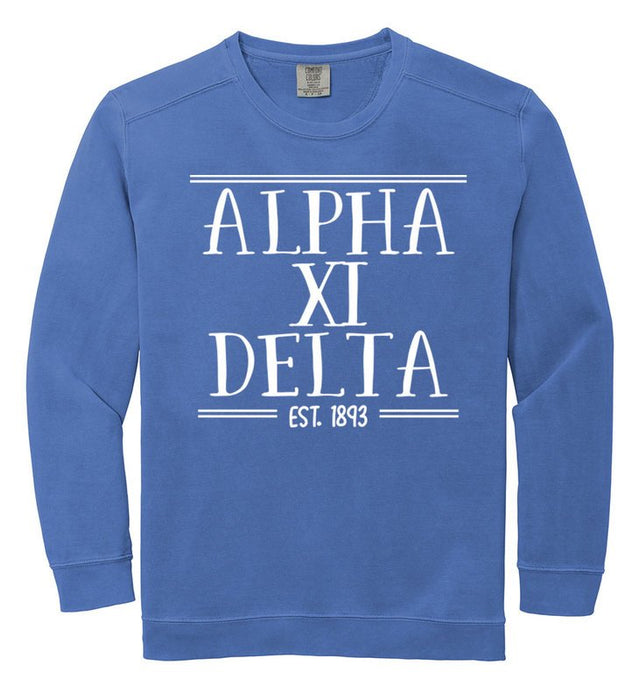 Alpha Xi Delta Comfort Colors Custom Sorority Sweatshirt