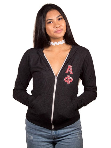 Alpha Phi Unisex Triblend Lightweight Hoodie with Sewn-On Letters