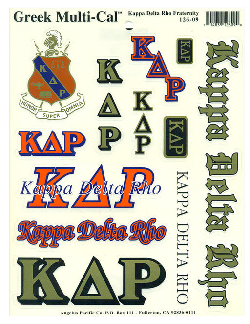 Kappa Delta Rho Multi Greek Decal Sticker Sheet