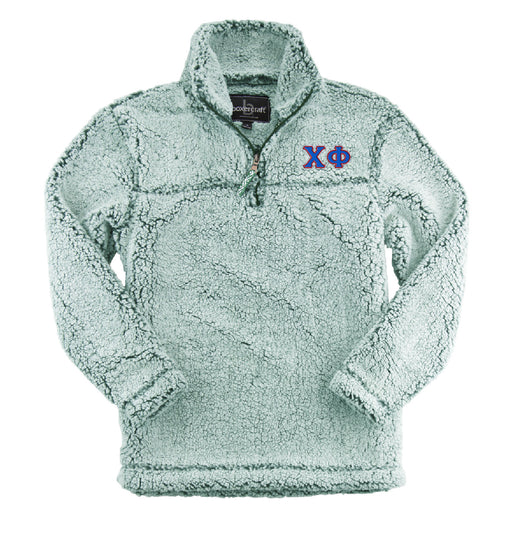 Chi Phi Embroidered Sherpa Quarter Zip Pullover