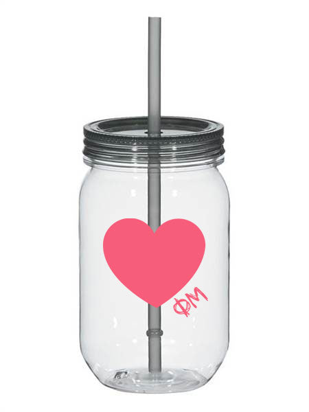 Phi Mu 25oz Scribbled Heart Mason Jar