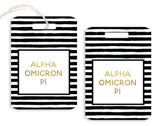 Alpha Omicron Pi Gold Striped Luggage Tag