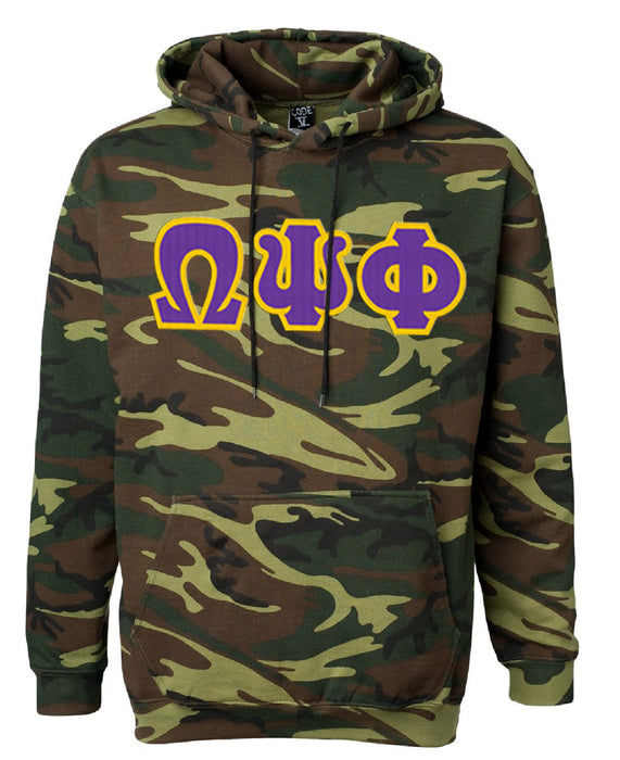 Omega Psi Phi Camo Hooded Pullover Sweatshirt