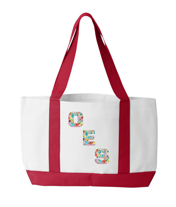 Order Of The Eastern Star 2-Tone Boat Tote with Sewn-On Letters