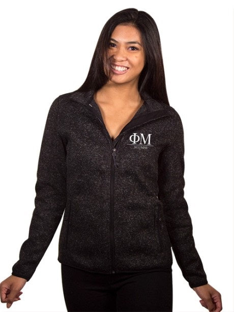Phi Mu Embroidered Ladies Sweater Fleece Jacket with Custom Text