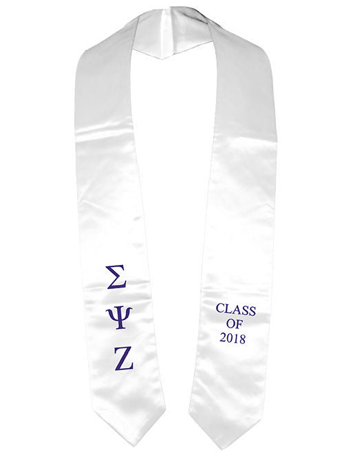 Sigma Psi Zeta Classic Colors Embroidered Grad Stole