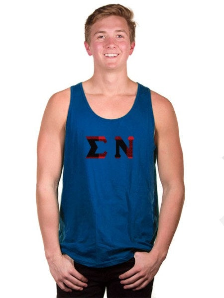 Sigma Nu Lettered Tank Top with Sewn-On Letters
