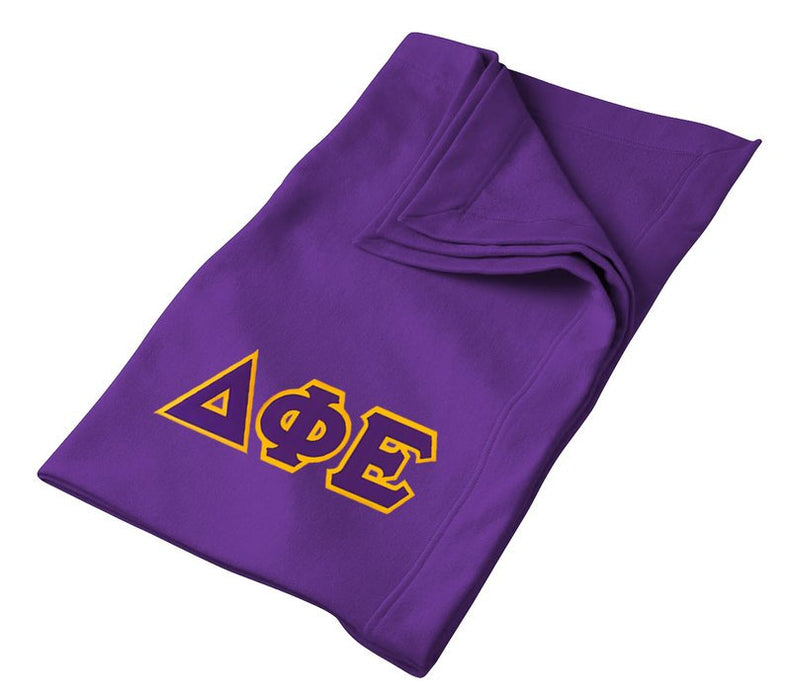 Delta Phi Epsilon Greek Twill Lettered Sweatshirt Blanket