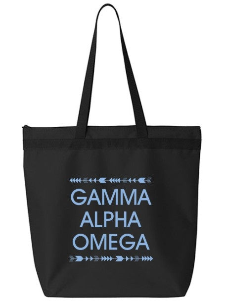 Gamma Alpha Omega Arrow Top Bottom Tote Bag