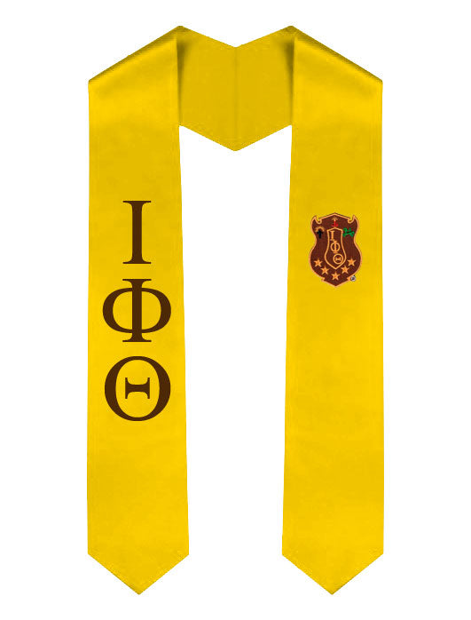 Iota Phi Theta Lettered Graduation Sash Stole with Crest