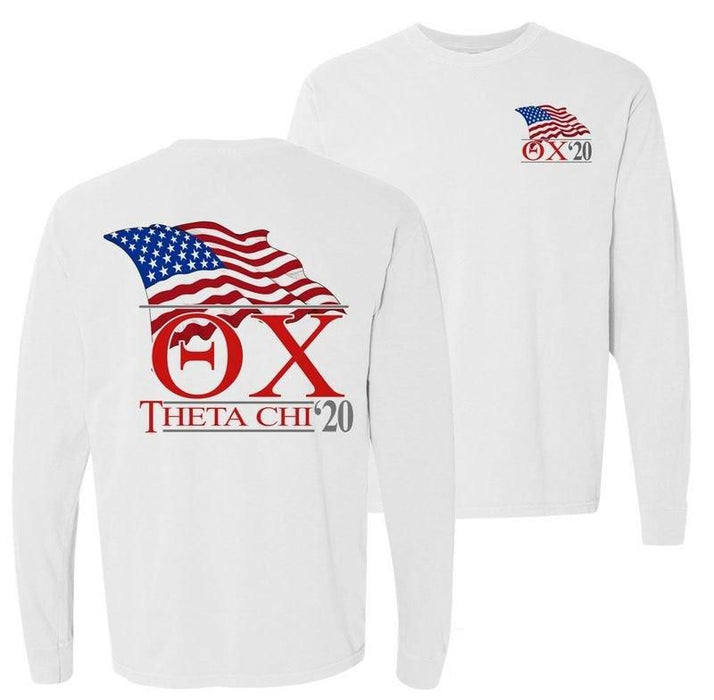 Theta Chi Patriot Flag Comfort Colors Long Tee