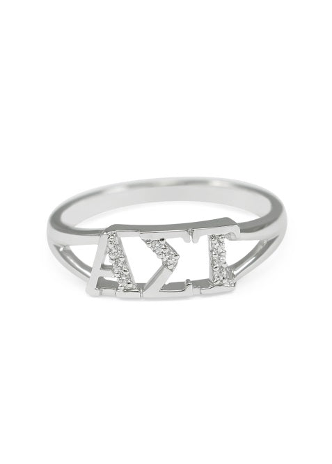 Alpha Sigma Tau Sterling Silver Ring with Lab Created Clear Diamond