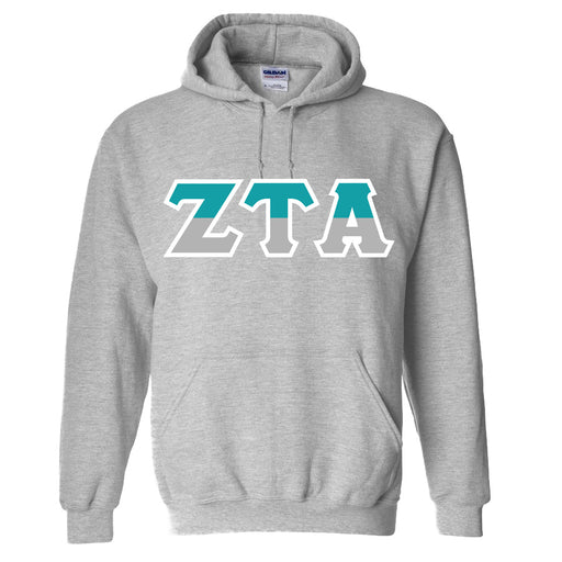 Zeta Tau Alpha Two Toned Lettered Hooded Sweatshirt