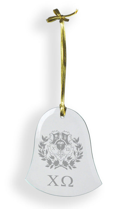Chi Omega Glass Bell Ornament