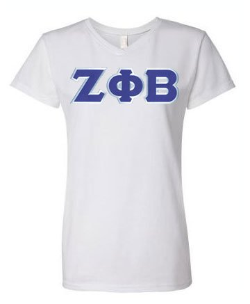 Zeta Phi Beta Unisex V-Neck T-Shirt with Sewn-On Letters