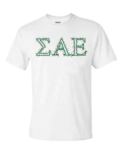 Sigma Alpha Epsilon Holiday Lights Crew Tee