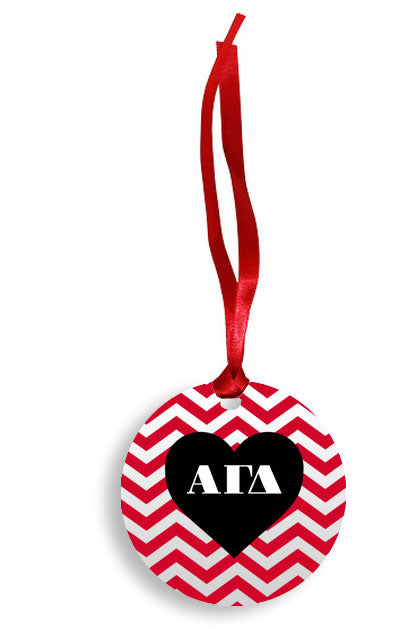 Alpha Gamma Delta Red Chevron Heart Sunburst Ornament