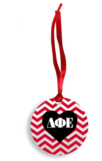 Delta Phi Epsilon Red Chevron Heart Sunburst Ornament