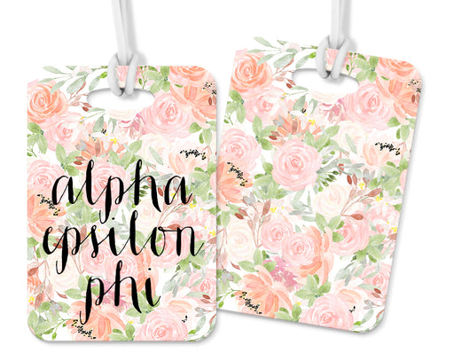 Alpha Epsilon Phi Pink Floral Luggage Tag