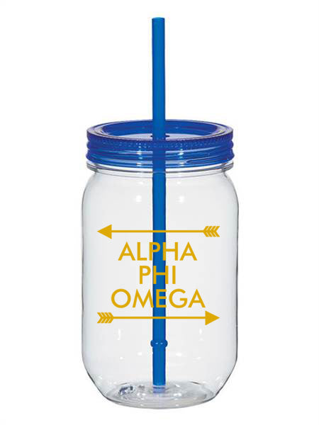 Alpha Phi Omega Arrow Top Bottom 25oz Mason Jar