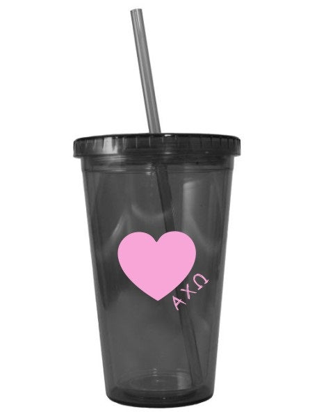 Scribble Heart 16 oz Acrylic Tumbler