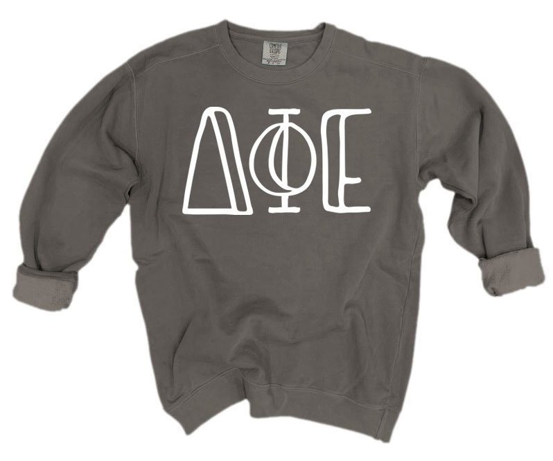 Delta Phi Epsilon Comfort Colors Greek Letter Sorority Crewneck Sweatshirt