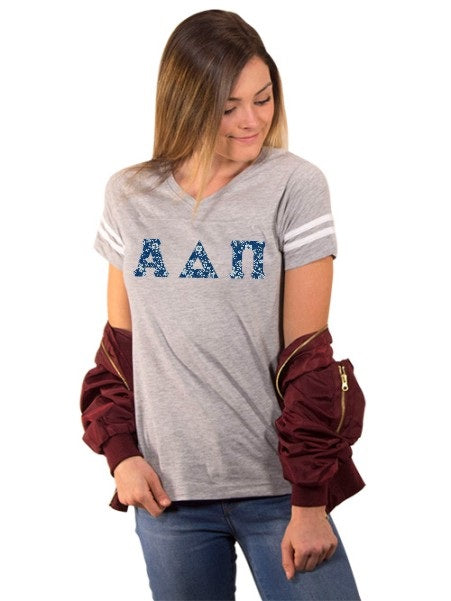 Alpha Delta Pi Football Tee Shirt with Sewn-On Letters