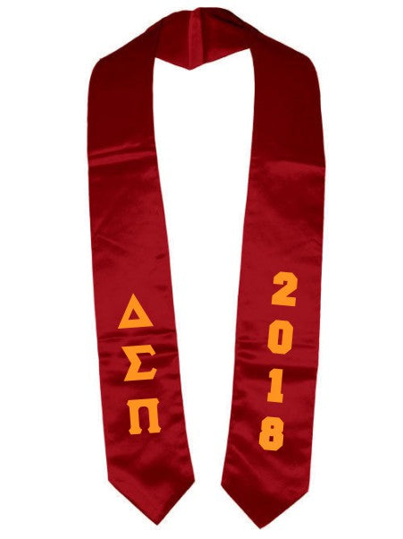 Delta Sigma Pi Vertical Grad Stole with Letters & Year