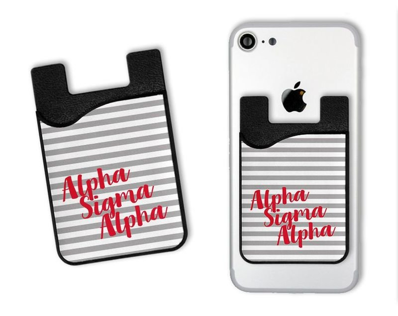 Alpha Sigma Alpha Sorority Stripes Caddy Phone Wallet
