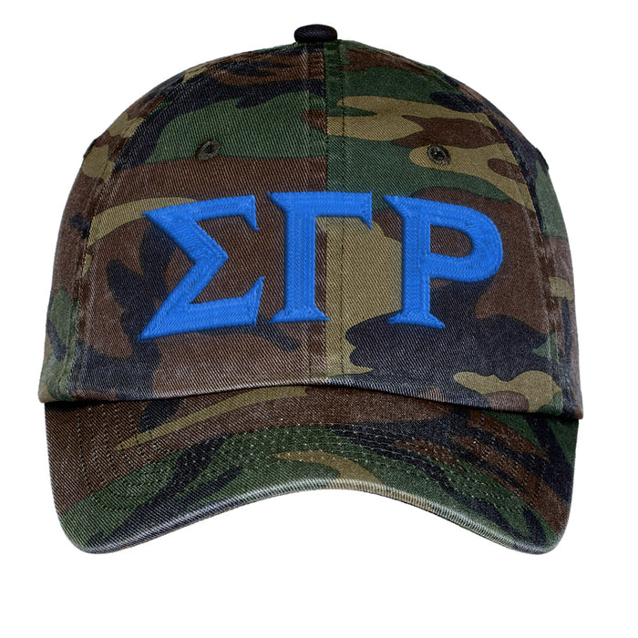 Sigma Gamma Rho Letters Embroidered Camouflage Hat