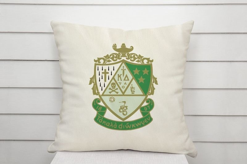 Kappa Delta Linen Shield Throw Pillow