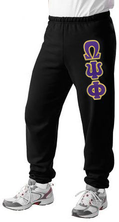 Omega Psi Phi Sweatpants with Sewn-On Letters
