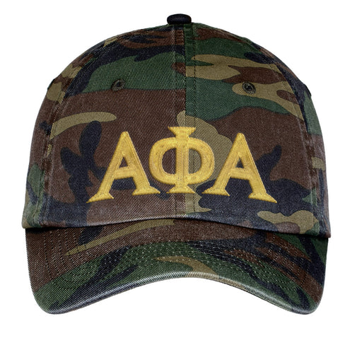 Alpha Phi Alpha Letters Embroidered Camouflage Hat
