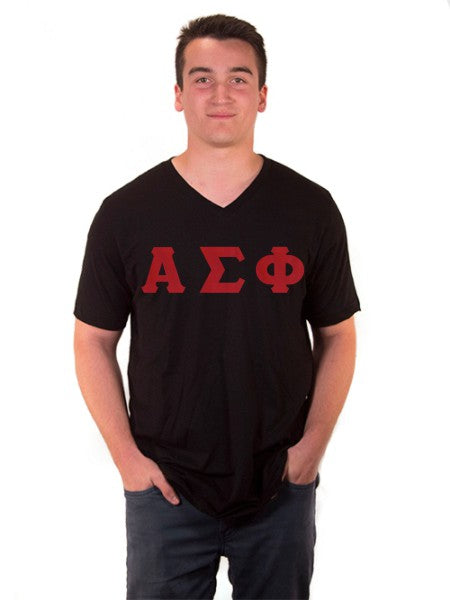 Alpha Sigma Phi V-Neck T-Shirt with Sewn-On Letters