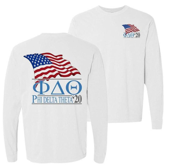 Phi Delta Theta Patriot Flag Comfort Colors Long Tee