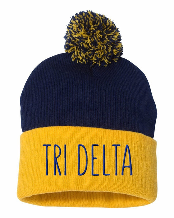 Delta Delta Delta Sorority Beanie With Pom Pom