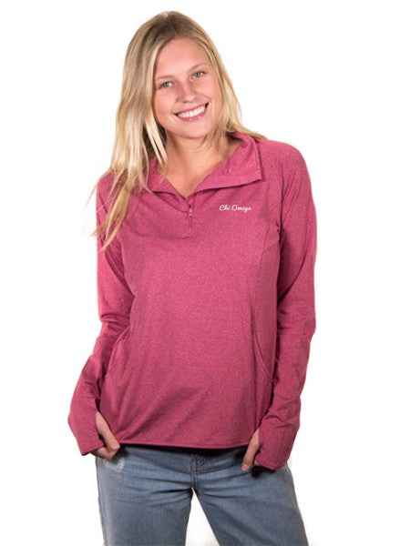 Chi Omega Embroidered Stretch 1/4 Zip Pullover