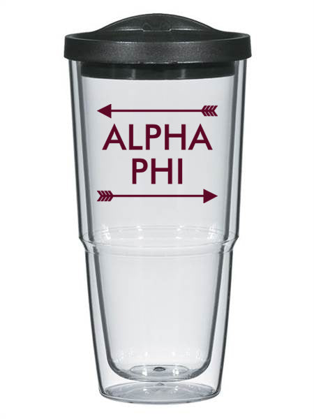 Alpha Phi Arrow Top Bottom 24oz Tumbler with Lid