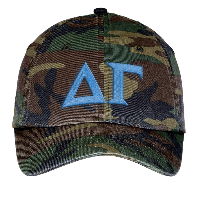 Delta Gamma Letters Embroidered Camouflage Hat