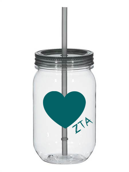Zeta Tau Alpha 25oz Scribbled Heart Mason Jar