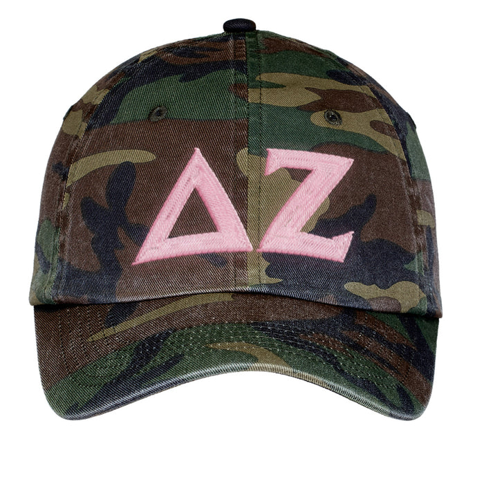 Delta Zeta Letters Embroidered Camouflage Hat