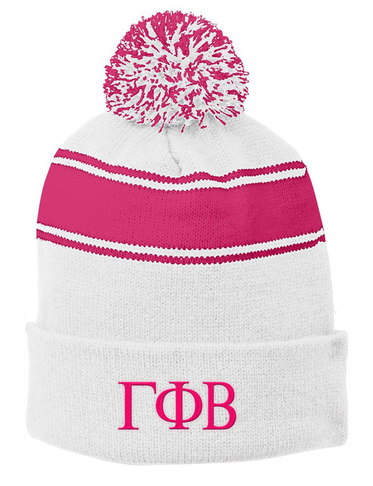 Gamma Phi Beta Embroidered Pom Pom Beanie
